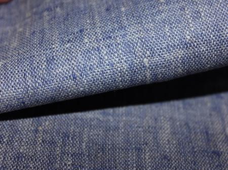 Льняная ткань: 43Л. Серо-фиолетовый, плотный джинсовый лен.