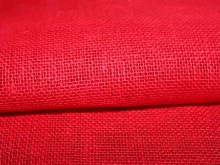 Льняная ткань: 67Л. Сетка алая, лен для декорирования.