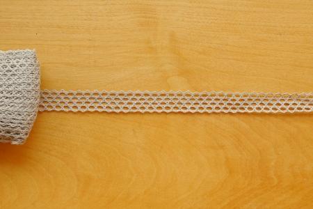 Льняное кружево: 16К Серое узкое кружево, сетчатое