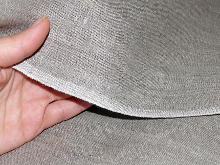 Льняная ткань: 40Л. Серый традиционный, плотный лен.