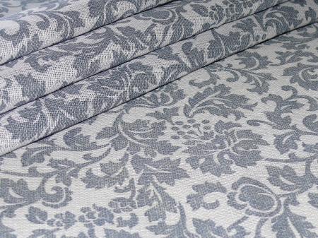Льняная ткань: 71Л. Серая сетка с темно-серым узором, лен.