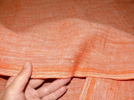 Льняная ткань: 45Л. Серо-оранжевый, плотный лен.