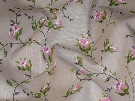 Натуральные полульняные ткани: 91П. Розовые розы на сером, полулён.