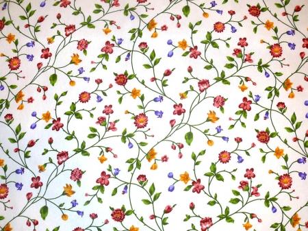 Хлопковая ткань: 205Б. Цветочный узор на белой бязи.
