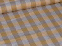 Льняная ткань: 19П. Серо-оранжевая клетка, лен.