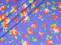 Хлопковая ткань: 214Б. Крупные розовые розы на синей бязи.