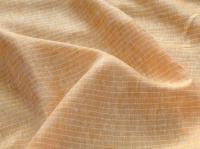 Льняная ткань: 18Л. Желтая полоска на оранжевом фоне, лен.