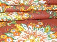 Хлопковая ткань: 228.3.Б. Огуречные узоры на коричневой бязи.