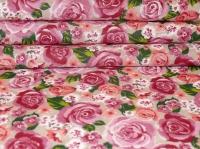 Хлопковая ткань: 224Б. Розовые розы на бежевой бязи.