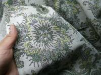 Натуральные полульняные ткани: 10п. Огуречный узор на сером полульне.